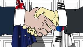握手的商人或政客反对澳大利亚和韩国的旗子 相关的会议或合作 向量例证
