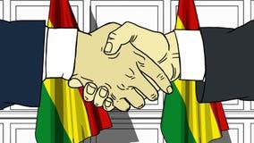 握手的商人或政客反对玻利维亚的旗子 会议或合作相关动画片动画 皇族释放例证