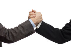 握手的商人,隔绝在白色 库存照片