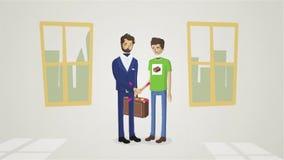 握手的商人,结束会议动画 欢迎商务伙伴握手 两成功 向量例证