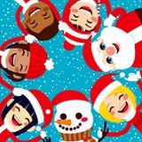 握手的圣诞老人雪人和孩子 免版税图库摄影