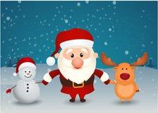 握手的圣诞老人驯鹿和雪人 免版税库存图片