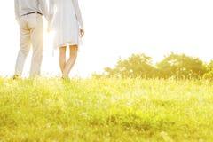 握手的夫妇中央部位背面图,当站立在草反对天空时 免版税库存图片