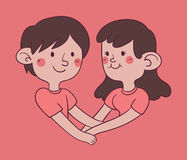 握手的夫妇形成心脏形状 库存照片