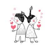 握手的夫妇红色心脏形状爱画简单的线 图库摄影