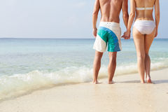 握手的夫妇细节海滩假日 免版税库存照片