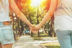 握手的年轻女同性恋者LGBT夫妇走在公园 免版税库存照片