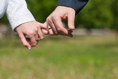 握手的恋人带淡红色 免版税库存图片