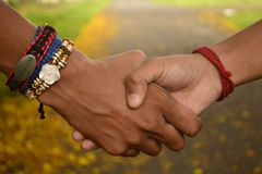 握手的朋友 友谊带rakhi 库存照片