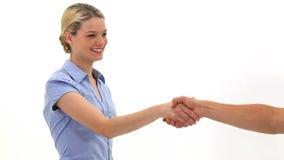 握手的白肤金发的妇女 影视素材
