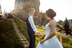 握手的美丽的新婚佳偶的浪漫结婚照 新郎带领沿的迷人的新娘 库存图片