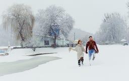握手的美好的爱恋的夫妇的愉快的步行 是愉快的童话完全地听到i,如果图象感谢使用冬天会您的地方 草甸地点 库存照片