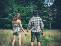 握手的年轻夫妇在草甸 免版税库存图片