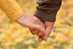 握手的年长夫妇 免版税库存照片