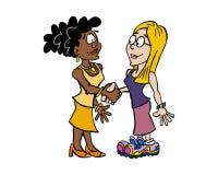 握手黑人妇女和白人妇女 向量例证