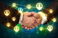 握手,社会netwok概念 免版税库存图片