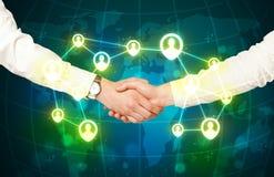 握手,社会netwok概念 免版税库存照片