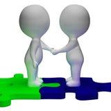 握手3d字符显示伙伴和团结 免版税图库摄影