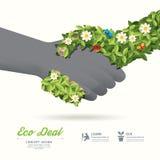 握手eco与手叶子和花的成交概念/可以是u 免版税库存图片