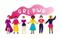 握有女孩力量概念的妇女手 向量例证