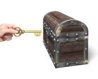 握欧洲标志钥匙开放宝物箱的手 免版税图库摄影