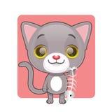 握鱼骨的逗人喜爱的灰色猫 免版税库存图片