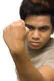握紧的闭合的拳头男 免版税图库摄影