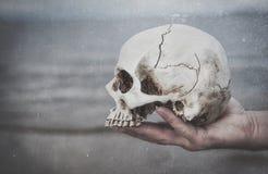 握头骨的人的手 背景棒万圣节月光附注 图库摄影
