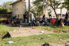 搁浅的难民在Tovarnik 图库摄影