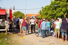 搁浅的难民在Tovarnik 库存照片