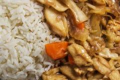 搅动与鸡和菜的油炸物用米 库存图片