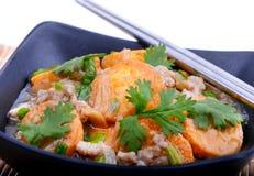 搅动在一个碗的油煎的豆腐用芝麻和绿色 自创健康素食主义者亚洲膳食-油煎的豆腐 免版税图库摄影