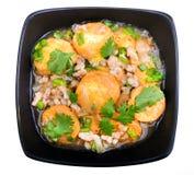 搅动在一个碗的油煎的豆腐用芝麻和绿色 自创健康素食主义者亚洲膳食-油煎的豆腐 免版税库存照片