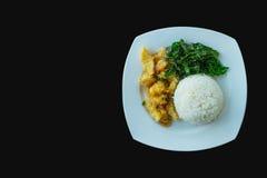 搅动炸鸡和巴西叶子用煮熟的米 图库摄影