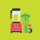 搅拌器芹菜和猕猴桃健康食物背景 库存例证