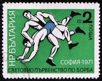 搏斗从系列`欧洲搏斗的冠军`,索非亚, 1971年`,大约1971年 免版税库存照片