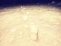 搜寻人在冬天风景消失了 深脚印人雪 库存照片