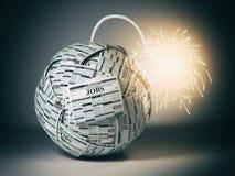 搜寻新的工作概念 从报纸的炸弹与工作vacati 图库摄影