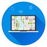 搜寻膝上型计算机的地点,地图的地点 你的位置,您在这里概念 向量例证