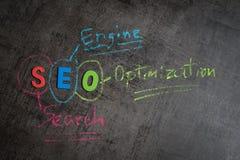 搜索引擎优化, SEO作为五颜六色的alph的等级概念 免版税库存照片