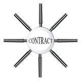 搜寻与放大镜的小组合并作为一个在发现事务和财政成功的合作 库存图片