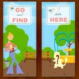 搜寻动物的女孩 库存例证
