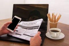搜寻新的工作或就业 免版税图库摄影