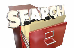 搜索词语档案橱柜 免版税库存照片