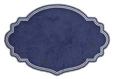 搪瓷标志空白蓝色背景匾 免版税库存图片