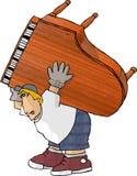 搬家工人钢琴 免版税图库摄影