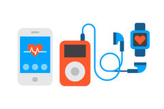 携带式装置音乐播放器动画片数字式设计技术媒介和通信多媒体立体音响按 图库摄影