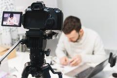 摄制后台照相机的录影讲解创作 库存图片
