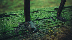 摄制照片铁棍被驾驶入老木制框架特写镜头 免版税图库摄影