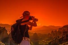 摄影师修道院迈泰奥拉 免版税库存图片